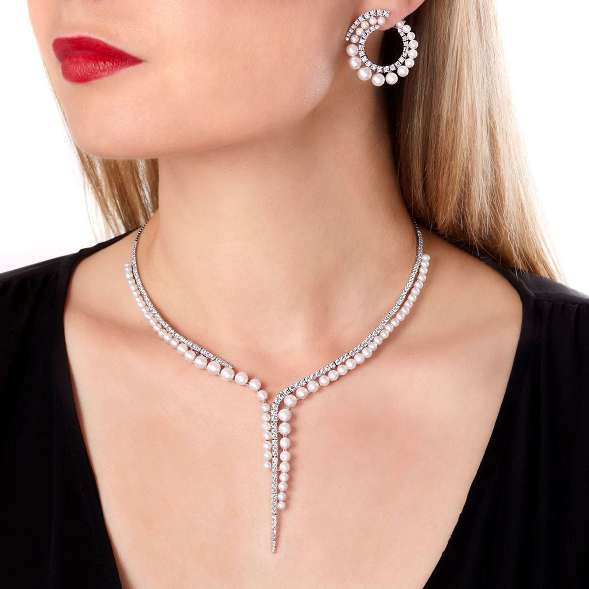 0001934 raindrop akoya pearl and diamond necklace in 18ct white gold