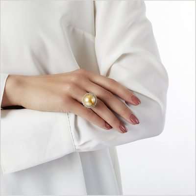 """<span id=""""product-title"""">AURELIA </span><br><span id=""""product-description"""">GOLDEN SOUTH SEA PEARL AND DIAMOND RING IN 18CT YELLOW GOLD</span>"""
