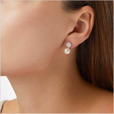 Yoko London Classic Diamond and Pearl Earrings