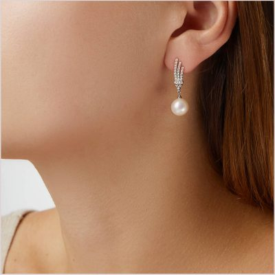 """<span id=""""product-title"""">CLASSIC </span><br><span id=""""product-description"""">FRESHWATER PEARL AND DIAMOND EARRINGS IN 18CT WHITE GOLD</span>"""