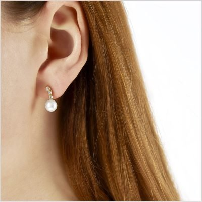 """<span id=""""product-title"""">CLASSIC </span><br><span id=""""product-description"""">FRESHWATER PEARL AND DIAMOND EARRINGS IN 18CT YELLOW GOLD</span>"""