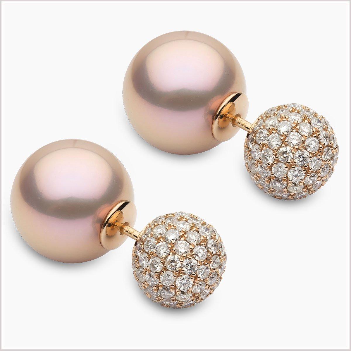 Yoko London Novus Duet Freshwater Pearl and Diamond Earrings