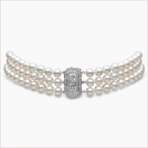 Yoko London Classic Freshwater Pearl and Diamond Choker