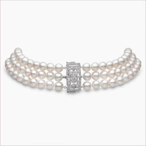 Yoko London Classic Freshwater Pearl & Diamond Choker