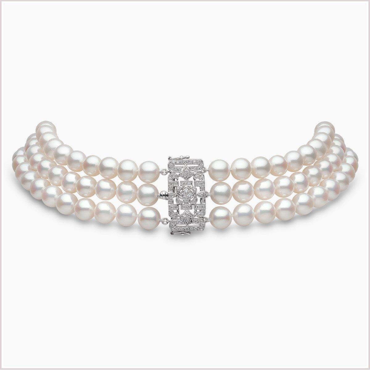 Yoko London Classic Freshwater Pearl & Diamond Choker