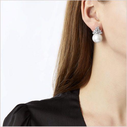 Yoko London Mayfair Diamond and South Sea Pearl Earrings