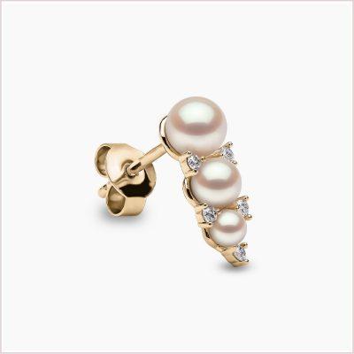 Yoko London Sleek Akoya Pearl and Diamond Earrings
