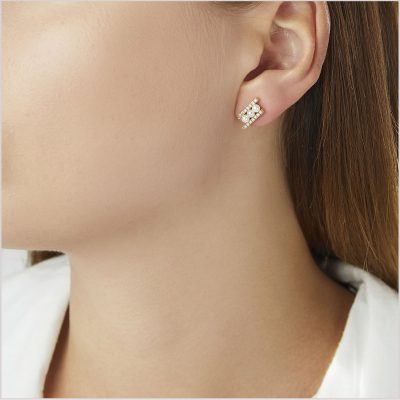"""<span id=""""product-title"""">SLEEK </span><br><span id=""""product-description"""">AKOYA PEARL AND DIAMOND STUD EARRINGS IN 18CT YELLOW GOLD</span>"""