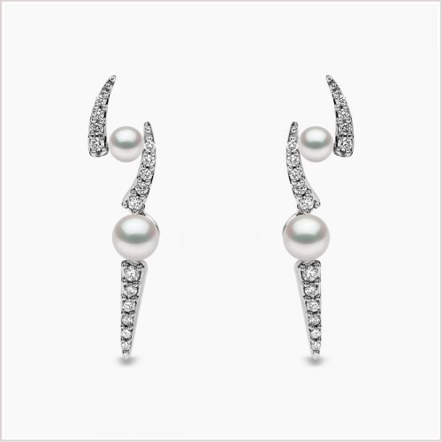 Yoko London Sleek Akoya Pearl and Diamond Earrings