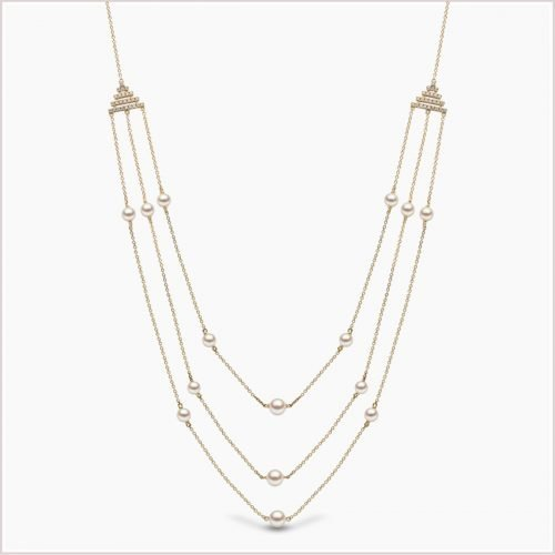 Yoko London Sleek Freshwater Pearl & Diamond Necklace