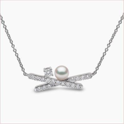 Yoko London Sleek Akoya Pearl & Diamond Necklace