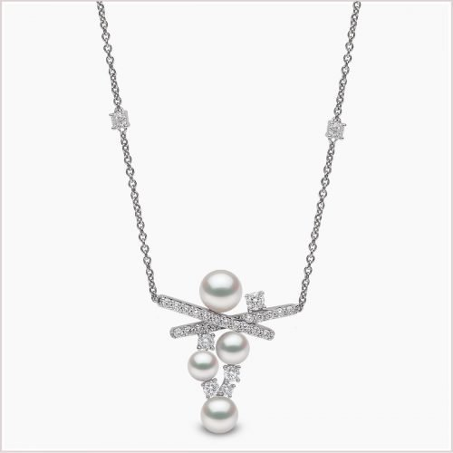 Yoko London Sleek Akoya Pearl & Diamond Necklace