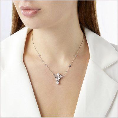 Yoko London Sleek Akoya Pearl & Diamond Necklacev