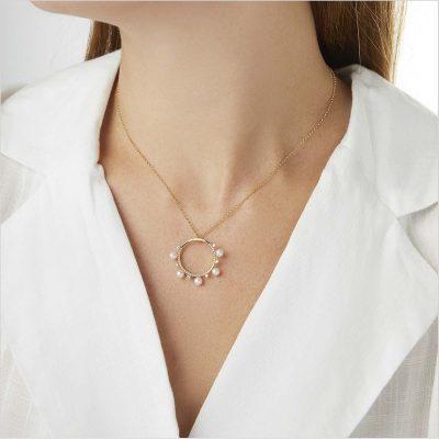 Yoko London Sleek Akoya Pearl & Diamond Pendant