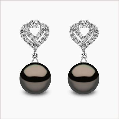 Yoko London Classic Diamond and Tahitian Pearl Earrings
