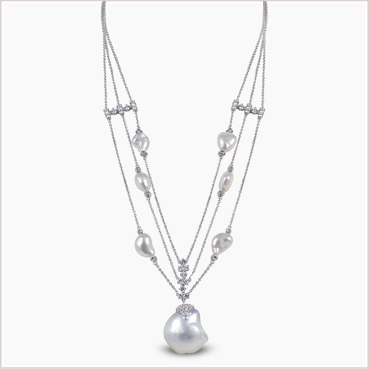 Yoko London Baroque South Sea Pearl and Diamond Necklace