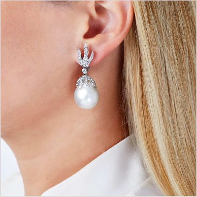 Yoko London Baroque South Sea Pearl and Diamond Earrings