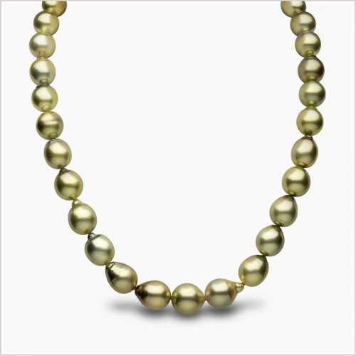 Yoko London Baroque Pistachio Coloured Tahitian Pearl Necklace