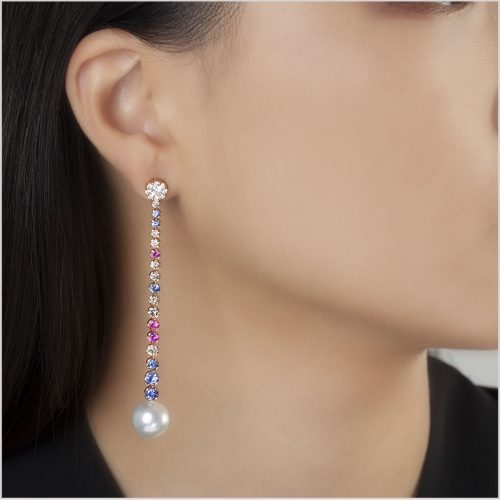 Yoko London Kaleidoscope Diamond, Sapphire and South Sea Pearl Earrings