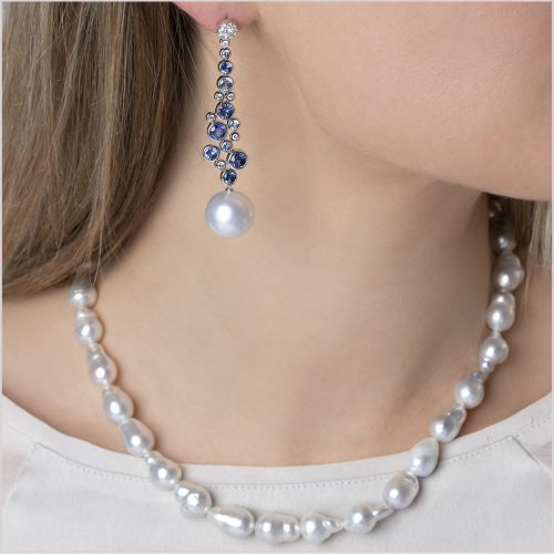 Yoko London Kaleidoscope Sapphire, Diamond and South Sea Pearl Earrings