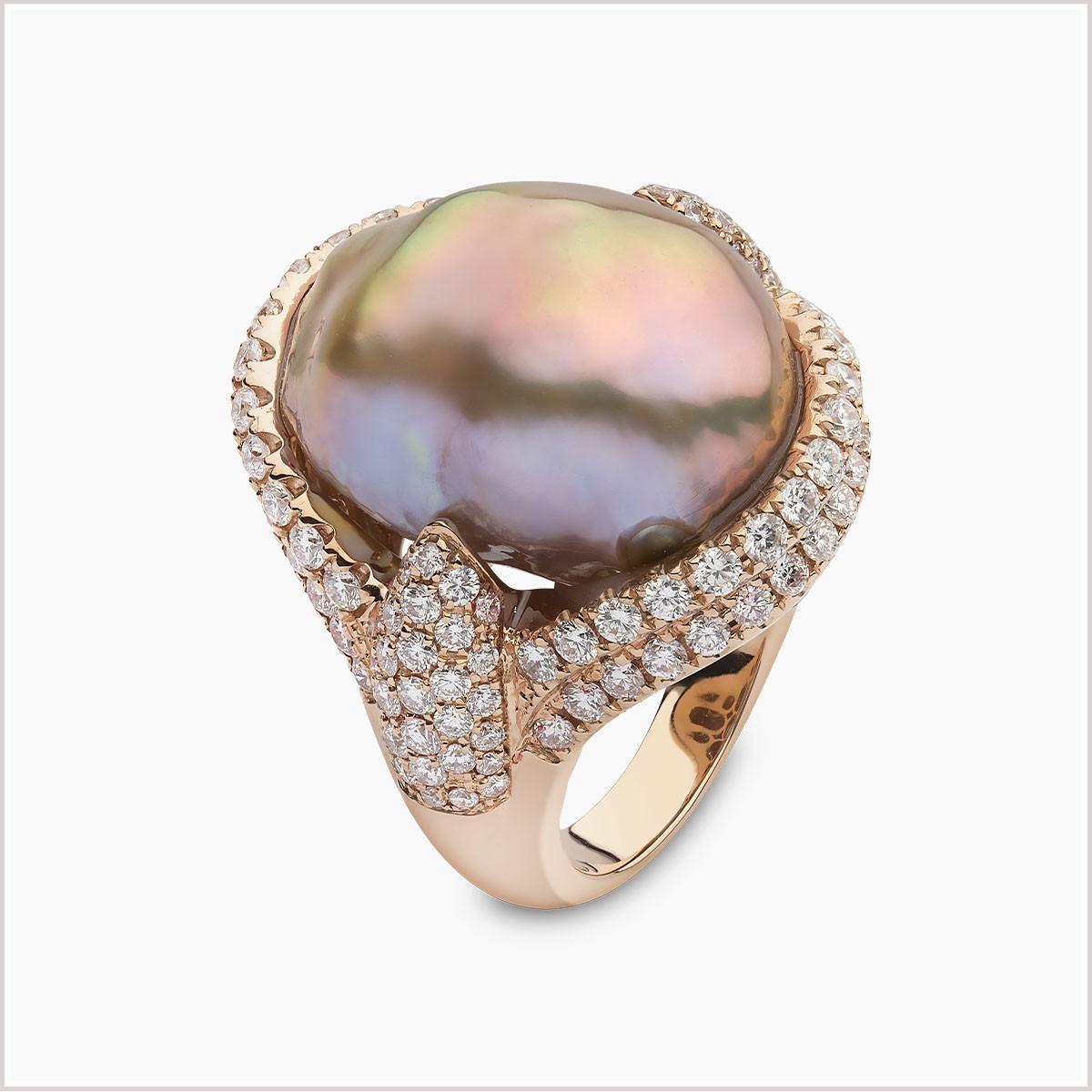 Yoko London Baroque Diamond and Freshwater Pearl Ring