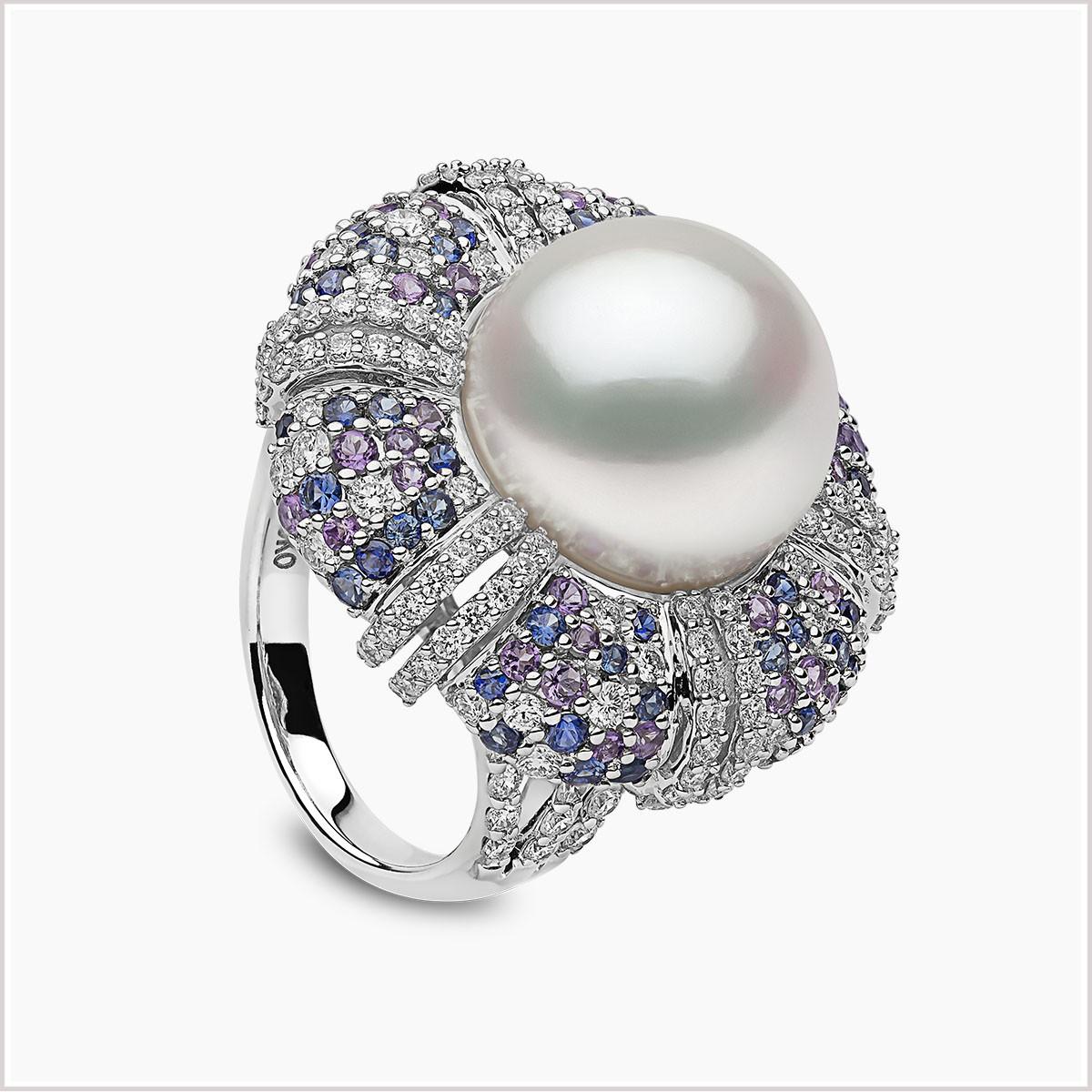 Yoko London Kaleidoscope South Sea Pearl, Sapphire, Amethyst and Diamond Ring