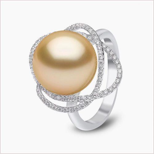Yoko London Aurelia Diamond and Golden South Sea Pearl Ring
