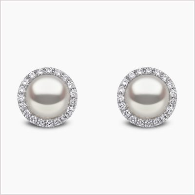 Classic Freshwater Pearl and Diamond Earrings