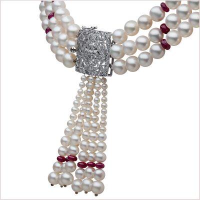 Yoko London Tassel Freshwater Pearl, Ruby and Diamond Choker