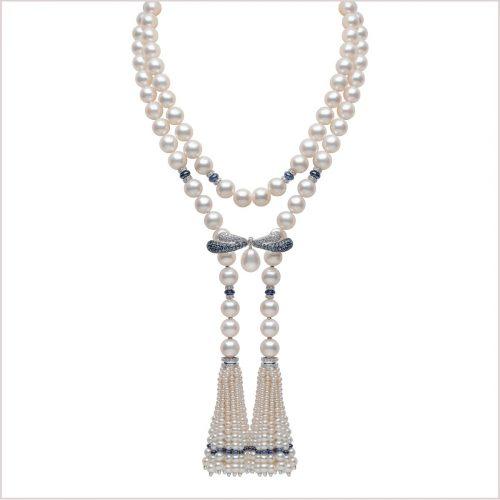 Yoko London Tassel, Sapphire and Diamond Necklace