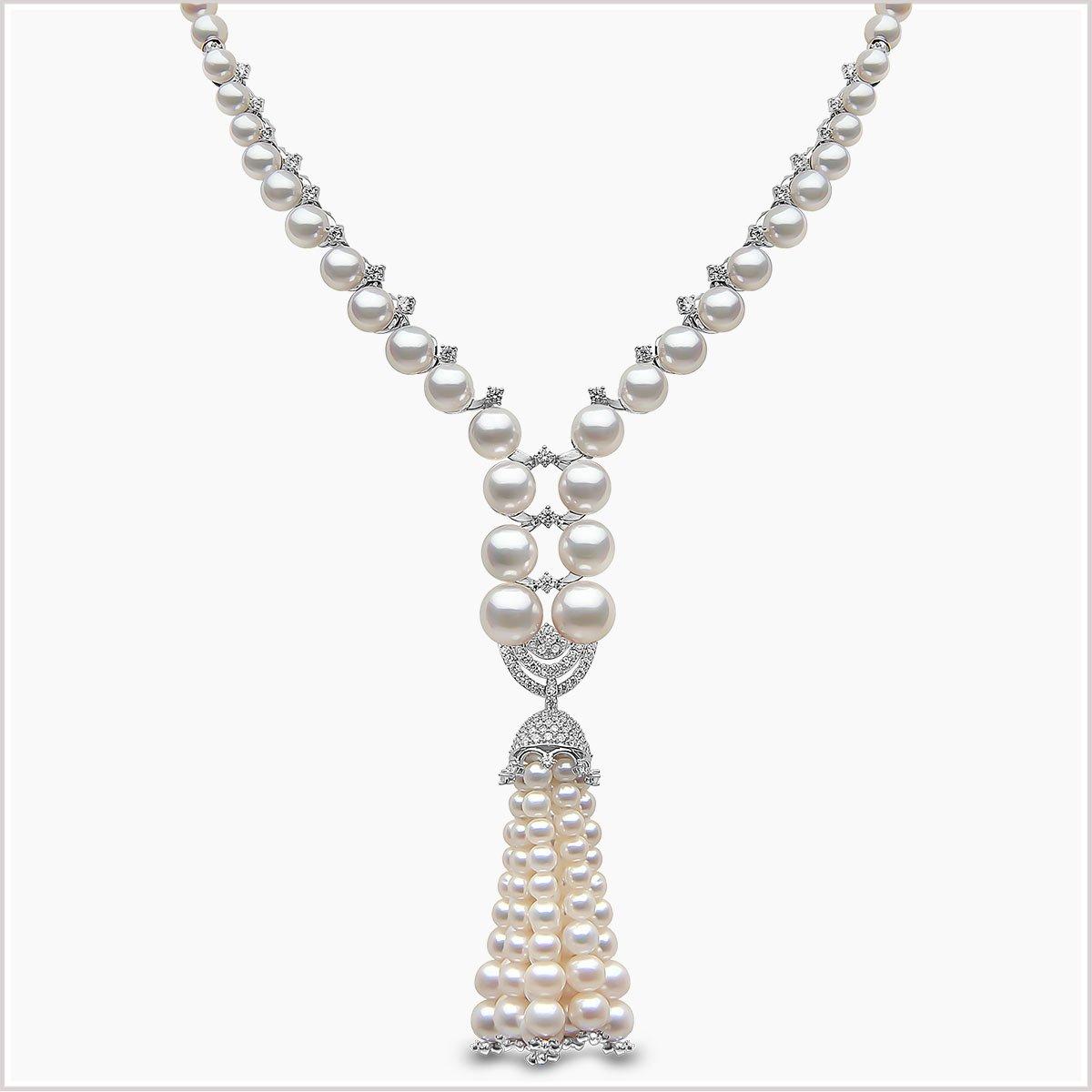 Yoko London Tassel Diamond, Akoya Pearl and Freshwater Pearl Necklace