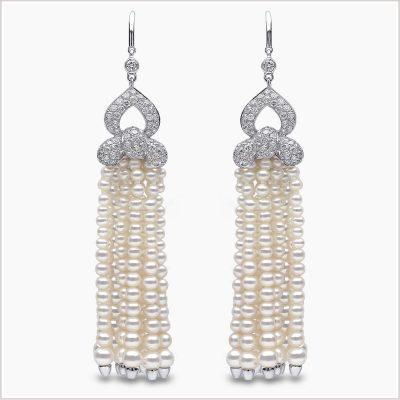 Yoko London Diamond and Freshwater Pearl Tassel Earrings