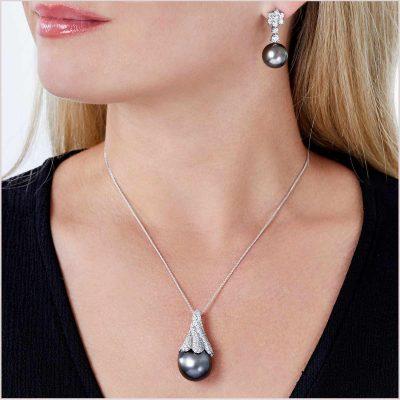 Twilight Tahitian Pearl and Diamond Pendant