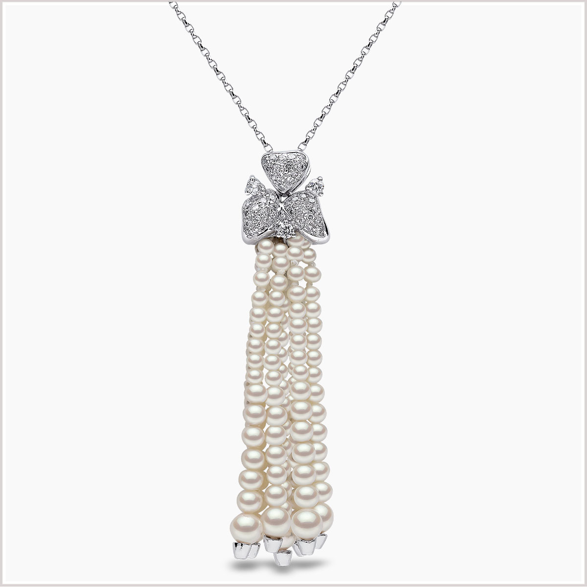 Yoko London Tassel Freshwater Pearl and Diamond Pendant