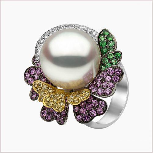 Yoko London Kaleidoscope South Sea Pearl, Sapphire, Garnet and Diamond Ring